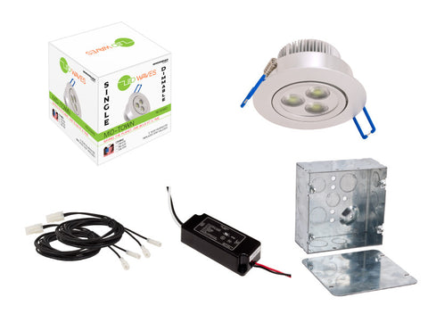 MIDTOWN LED Recessed Light (Silver) with a dimmable LED Driver & a juction box
