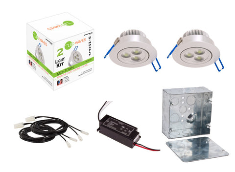 MIDTOWN LED Recessed Dimmable 2-Light Kit (Silver) with a Juction box