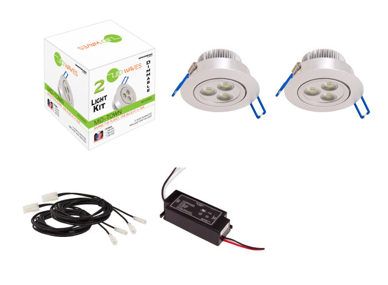 MIDTOWN LED Recessed Dimmable 2-Light Kit (Silver)