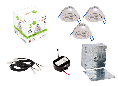 MIDTOWN LED Recessed Dimmable 3-Light Kit (Silver) with a Juction box