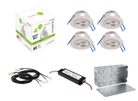 MIDTOWN LED Recessed Dimmable 4-Light Kit (Silver) with a Juction box