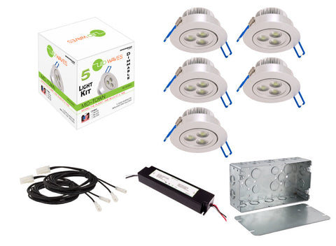 MIDTOWN LED Recessed Dimmable 5-Light Kit (Silver) with a Juction box