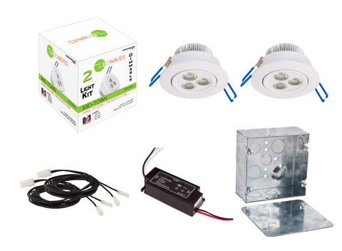 MIDTOWN LED Recessed Dimmable 2-Light Kit (White) with a Juction box