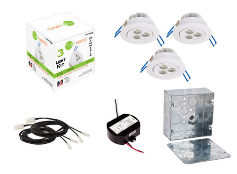 MIDTOWN LED Recessed Dimmable 3-Light Kit (White) with a Juction box
