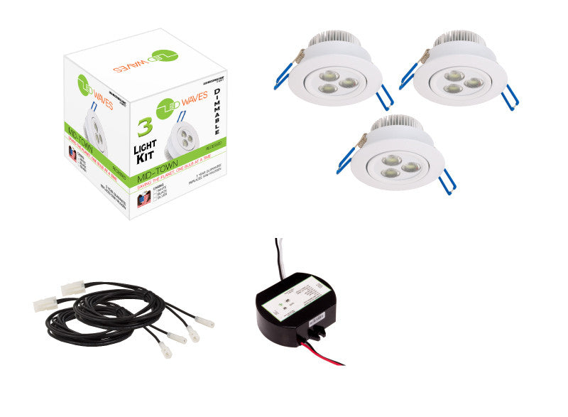 MIDTOWN LED Recessed Dimmable 3-Light Kit (White)