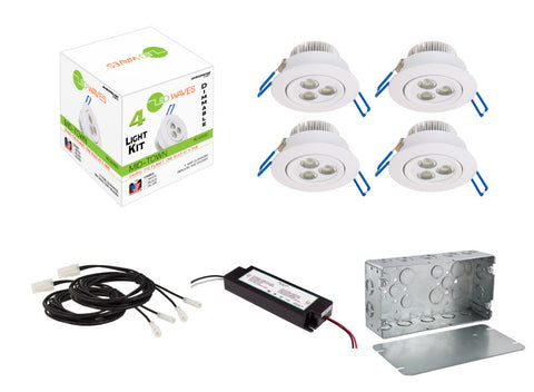 MIDTOWN LED Recessed Dimmable 4-Light Kit (White) with a Juction box