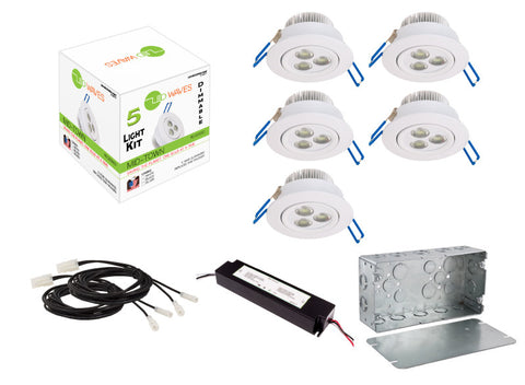 MIDTOWN LED Recessed Dimmable 5-Light Kit (White) with a Juction box