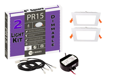 "PR15 Square ULTRA-THIN 4"" LED Recessed Dimmable Kit"