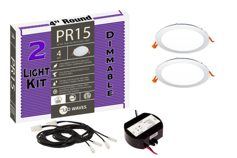 "PR15 ULTRA-THIN 4"" LED Recessed Dimmable Kit (White Finish)"