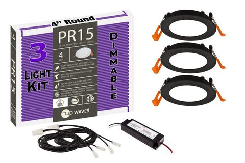 "PR15 ULTRA-THIN 4"" LED Recessed Dimmable Kit (Black Finish)"