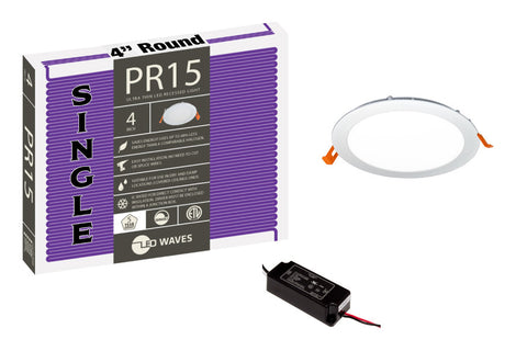 "PR15 ULTRA-THIN 4"" LED Recessed Light (White Finish)"