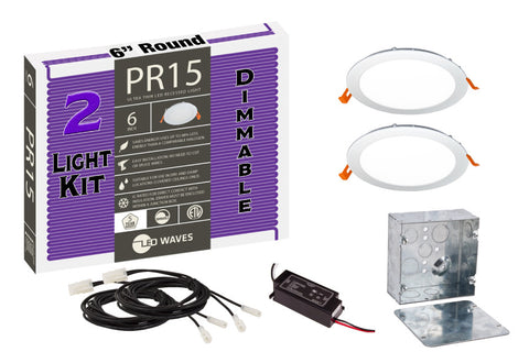 "PR15 ULTRA-THIN 6"" LED Recessed Dimmable Kit (White Finish)"