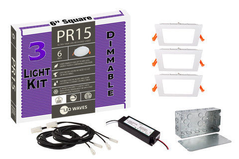 "PR15 Square ULTRA-THIN 6"" LED Recessed Dimmable Kit"