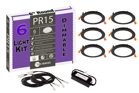 "PR15 ULTRA-THIN 6"" LED Recessed Dimmable Kit (Black Finish)"