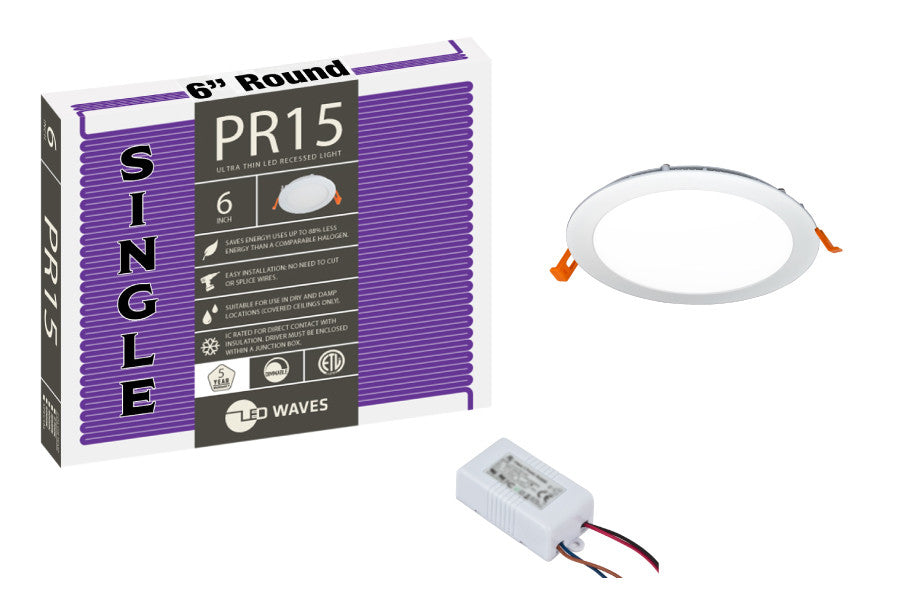 "PR15 Ultra-Thin 6"" LED Recessed Light (White Finish)"