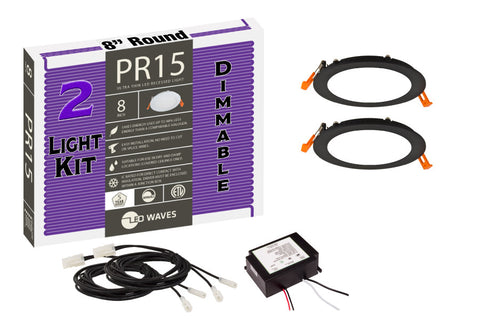 "PR15 ULTRA-THIN 8"" LED Recessed Dimmable Kit (Black Finish)"