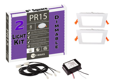 "PR15 Square ULTRA-THIN 8"" LED Recessed Dimmable Kit"