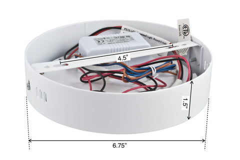 "Dimensions of PR15 6"" LED Ceiling Mount Light"