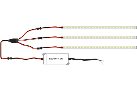 Connection diagram for QIK Troffer Retrofit LED Light Bars