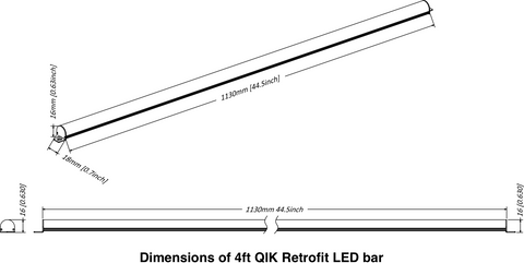QIK Retrofit Bar: dimensions