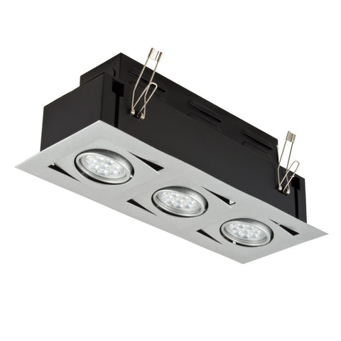 LED ALPHA STUDIO Recessed Light Unit (Silver finish, 3x1)