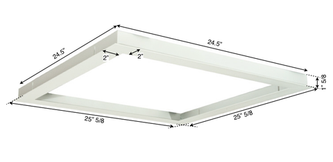 Dimensions of 2x2' Recessed Mounting Skylight LED Panel
