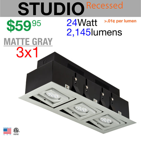 LED STUDIO Recessed Light Unit (Matte Gray finish, 3x1)