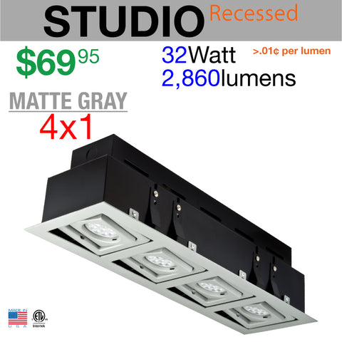 LED STUDIO Recessed Light Unit (Matte Gray finish, 4x1)