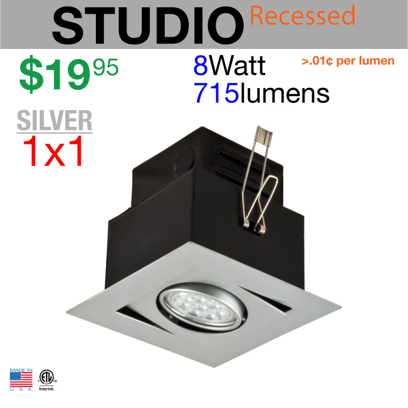 LED STUDIO Recessed Light Unit (Silver finish, 1x1)