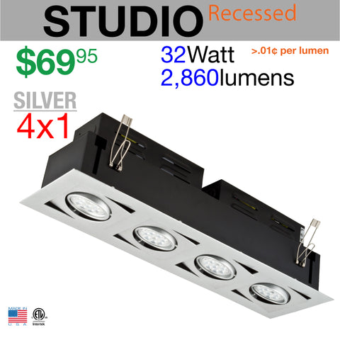 LED STUDIO Recessed Light Unit (Silver finish, 4x1)