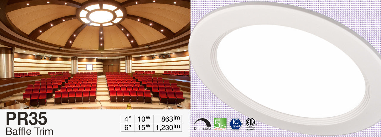 PR25 Slim Baffle LED Recessed Light