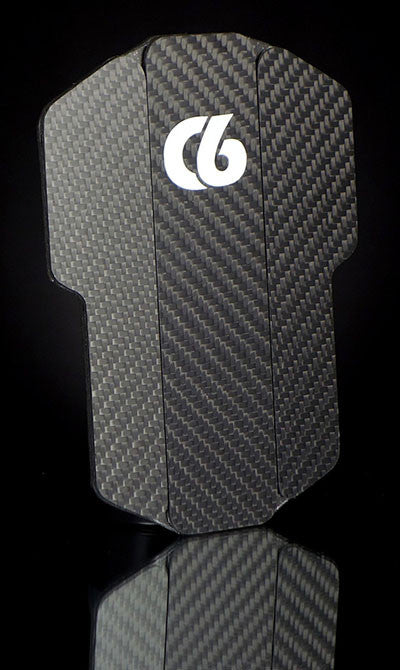 Soccer/Football - C6 Stealth Carbon - Handmade 100% Carbon Fiber Shin Guards - Front - Angled