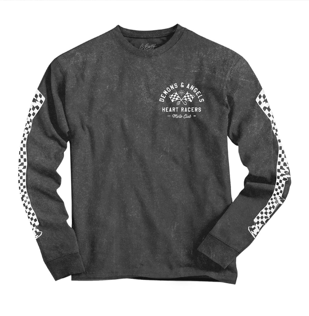 """Heart Racer"" Long Sleeve TEE (vintage charcoal)"