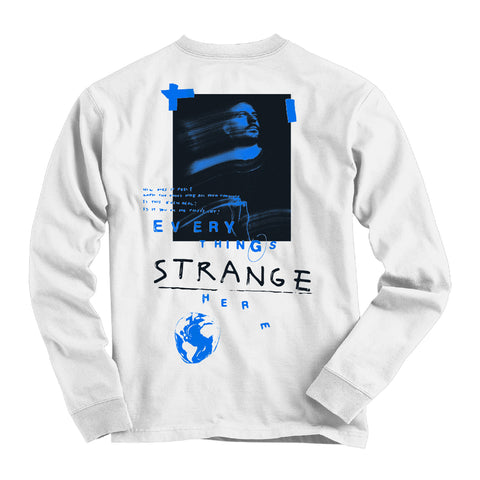 """STRANGE FACES"" Long Sleeve Tee (white)"