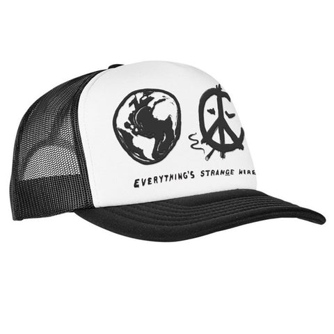 """WORLD PEACE"" TRUCKER CAP (blk/wht)"