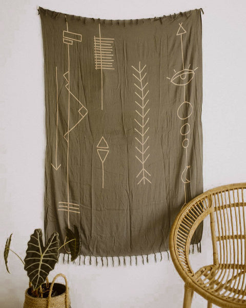 Olive Green Abstract Tapestry