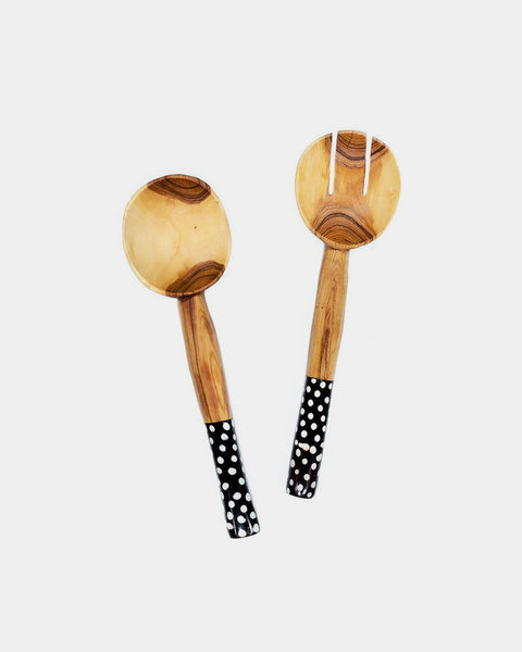 Dotted Round Olivewood Salad Servers - Hesby