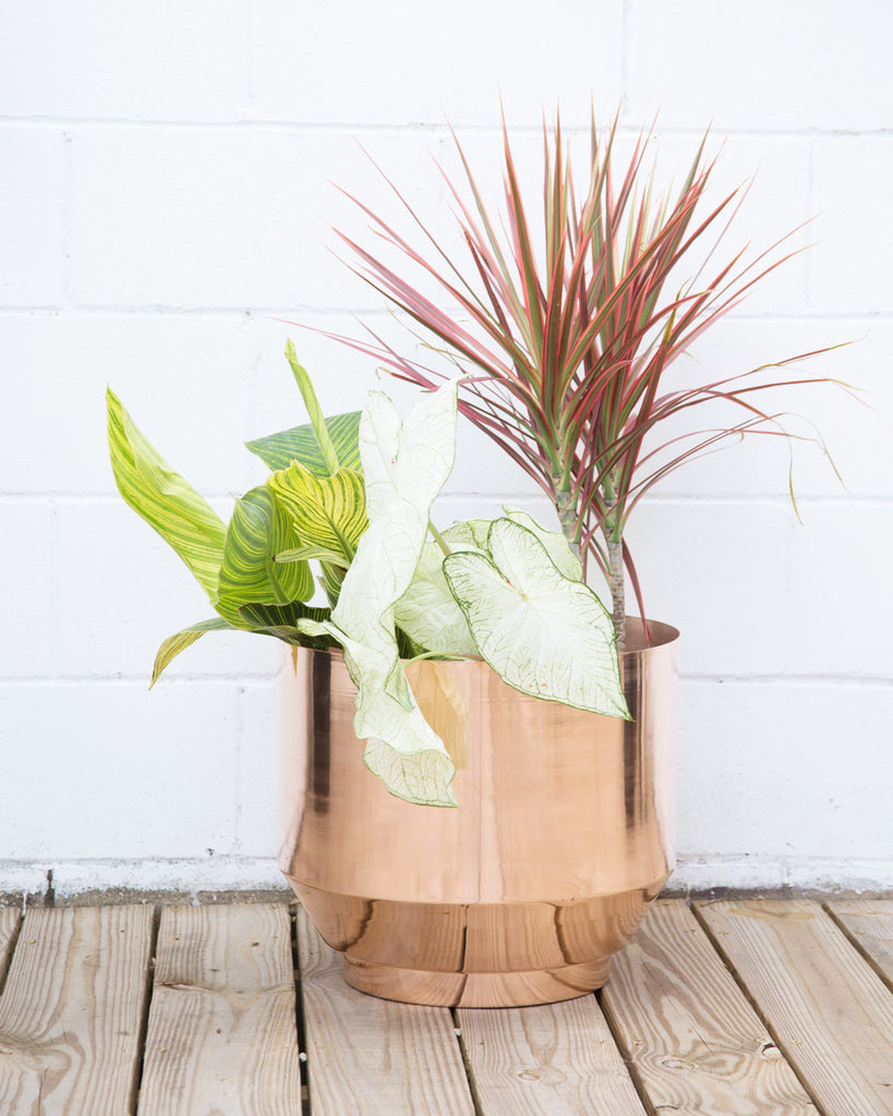 "Copper Spun 16"" Planter - Hesby"