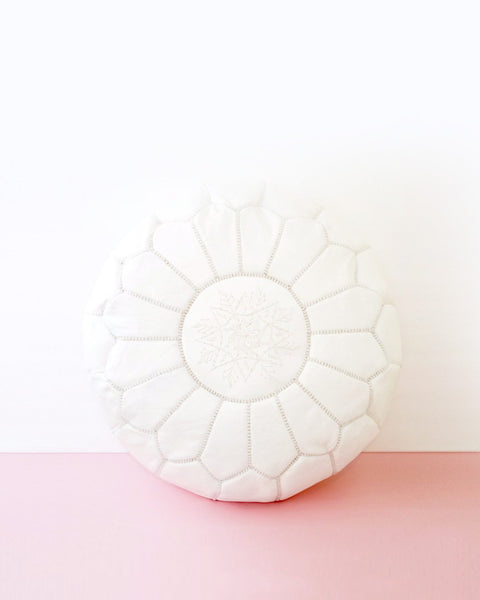Boho Chic White Leather Moroccan Pouf