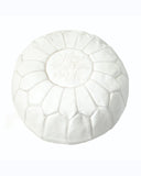 White Leather Moroccan Pouf - Hesby