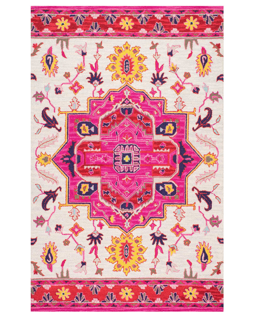 Boho Graphic Pink Medallion Turkish Style Wool Rug