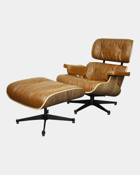 Mid-Century Modern Leather Lounge Chair - Hesby