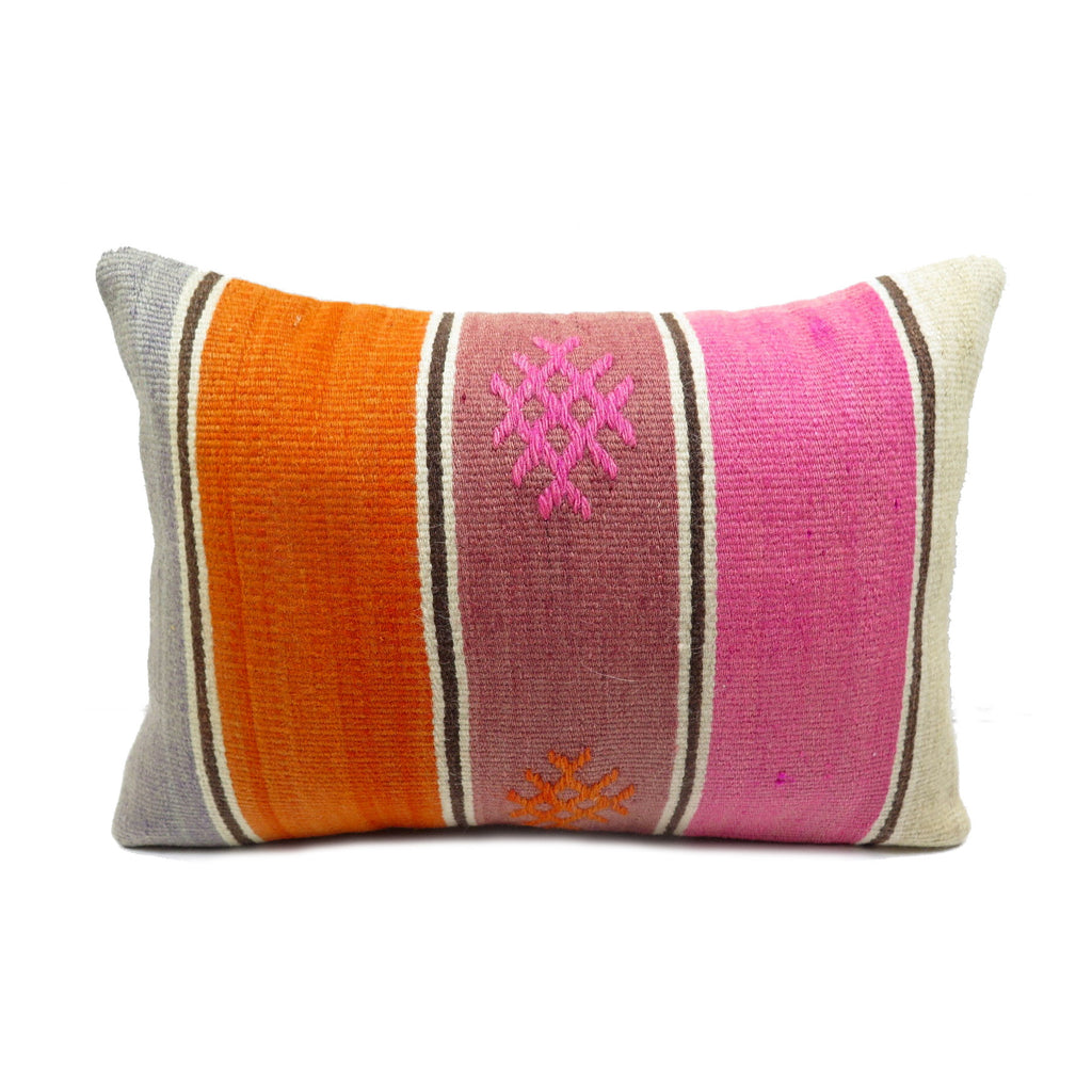 Summer Striped Kilim Lumbar Pillow - Hesby