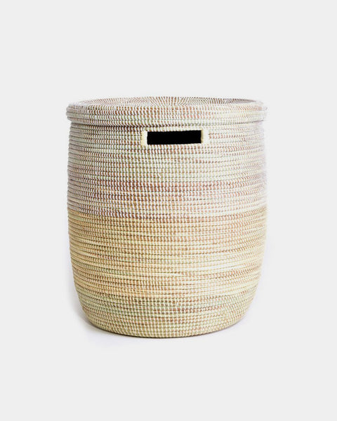 Vanilla Dipped White Laundry Basket - Hesby