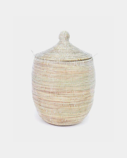 White Handmade Boho Lidded African Laundry Hamper from Hesby