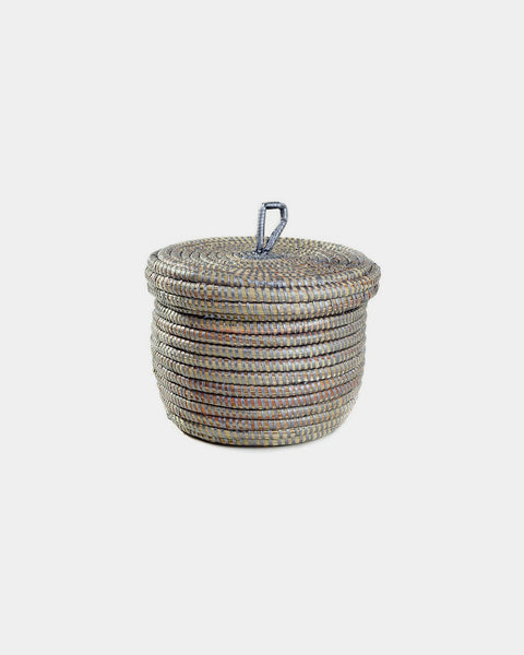 Silver Lidded Storage Basket - Hesby