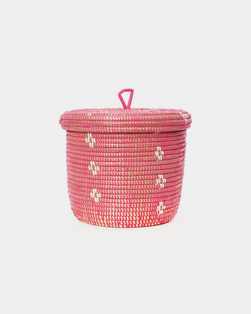 Pink Bloom Lidded Storage Basket - Hesby