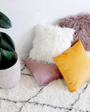 White Faux Fur Pillow - Hesby