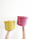 Yellow Bloom Lidded Storage Basket - Hesby
