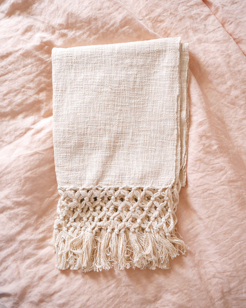 Cream Fringe Throw Blanket
